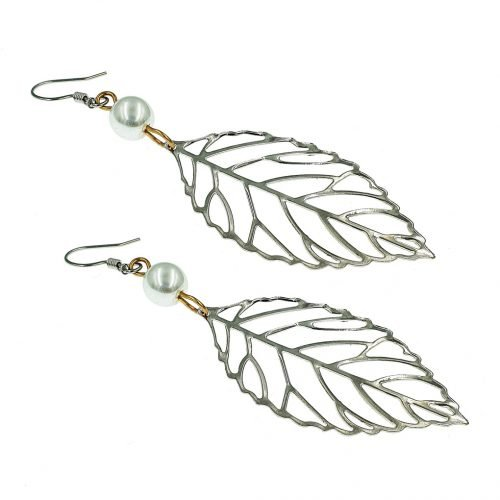 Blad-oorbellen-zilver-plat