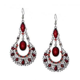 Bohemian fashion oorhangers rood