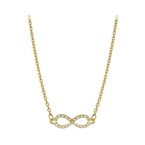Goudkleurige infinity collier met kristal