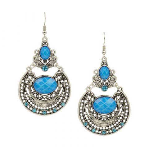 Blauwe vintage oorhangers