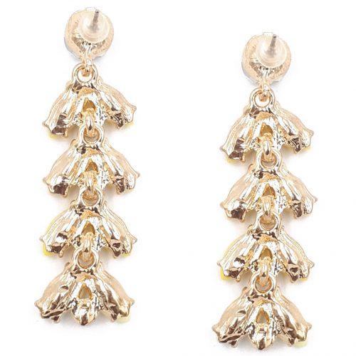 Bladvormige oorbellen met kristallen