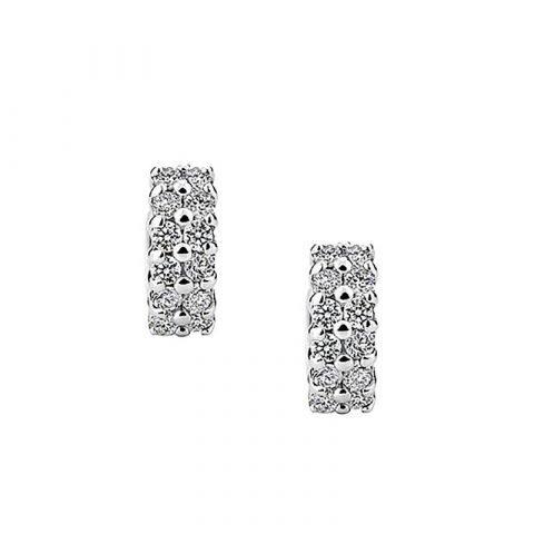 Zilverkleurige creolen oorbellen met zirkonia stenen