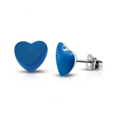 Blauwe stalen hartjes oorknopjes