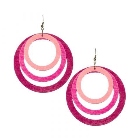 Roze houten ronde oorhangers