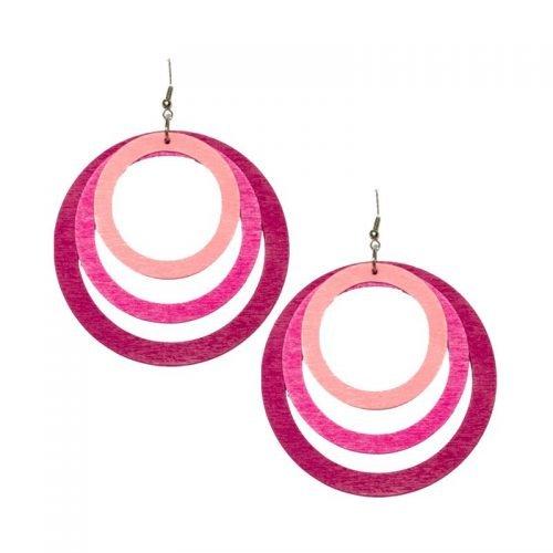 Houten-ronde-oorhangers-roze