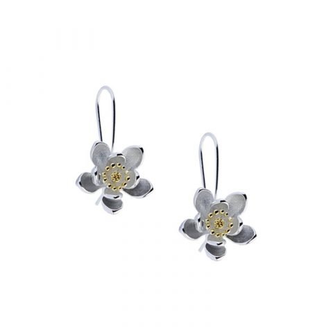 Zilverkleurige lotusbloem oorbellen