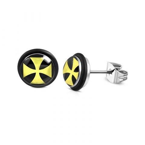 Stalen oorbellen Maltezer kruis in het geel