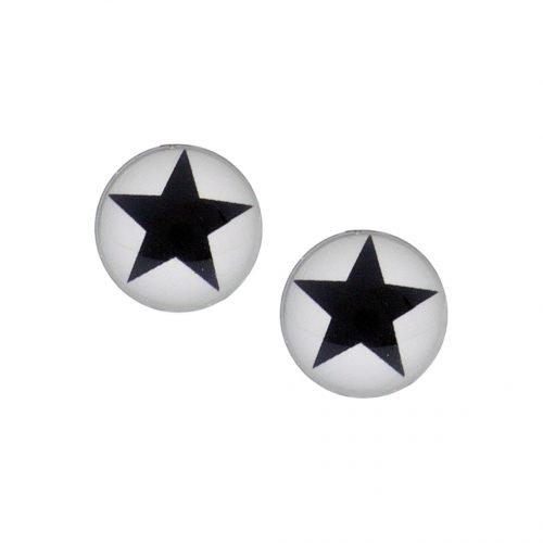 Stalen oorbellen met zwarte ster