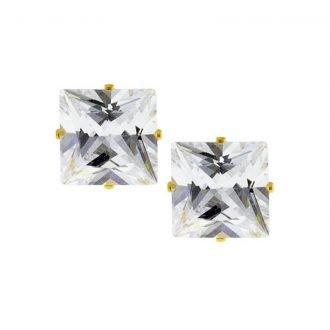 Stalen oorknoppen met vierkante zirkonia