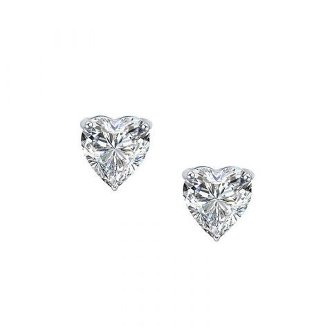 Zilveren oorbellen met witte zirkonia hart