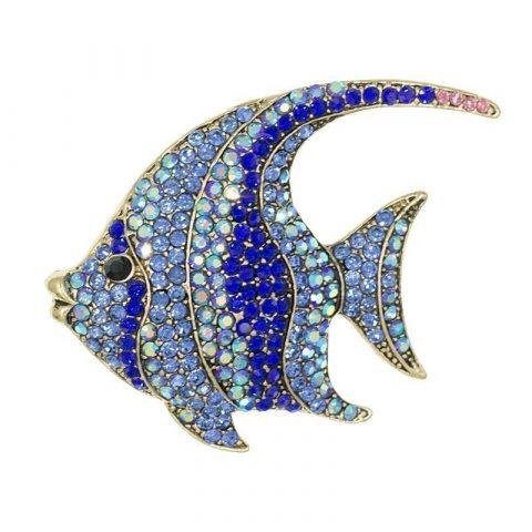 Blauwe vis broche