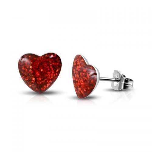 Hartjes oorknoppen met glitters rood