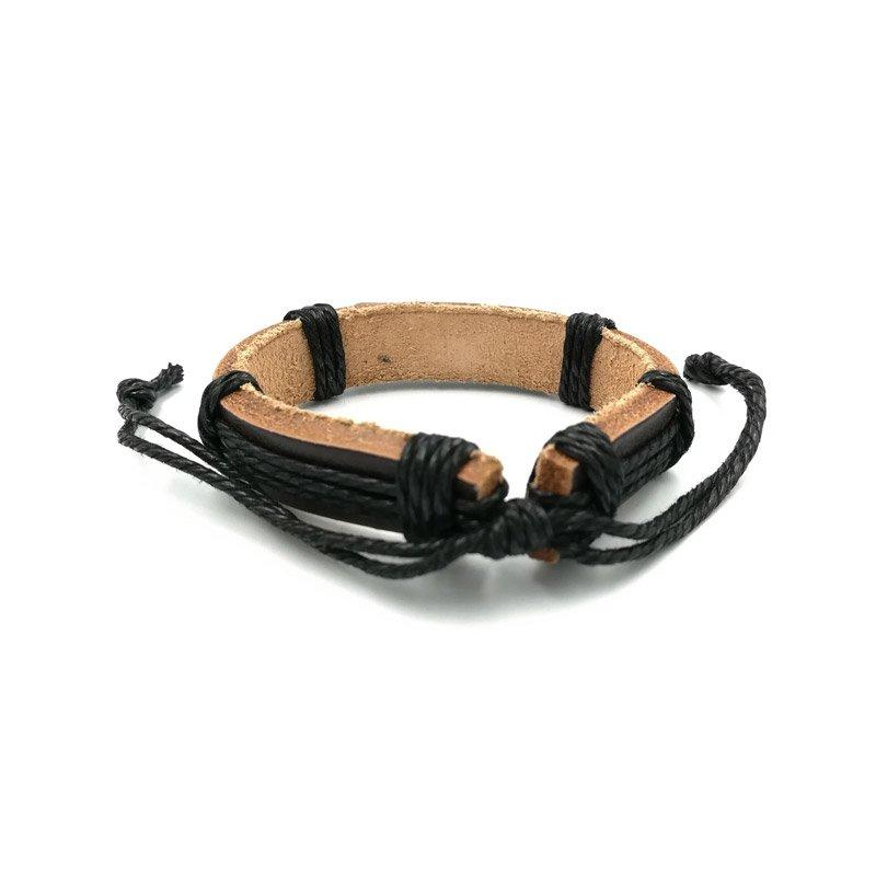 Surfer armbandje van leer look bruin? Bestel nu bij Sugheely.nl