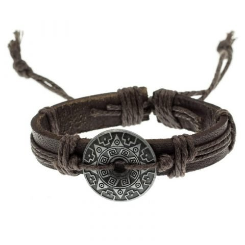 Leren tribal armband bruin