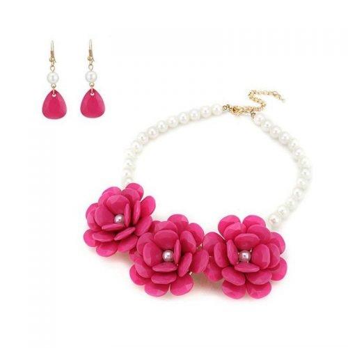 Bloemen sieraden set watermeloen rood