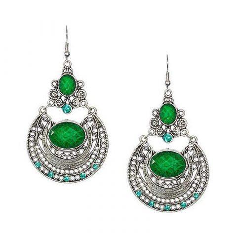Groene oorbellen bohemian stijl