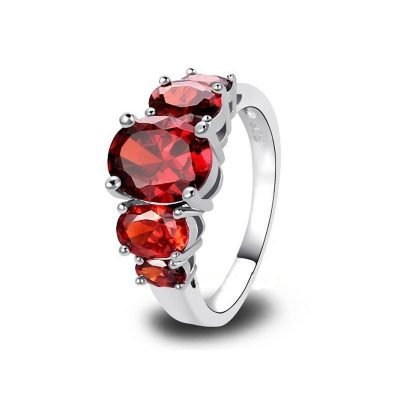 Dames ring rood maat 19
