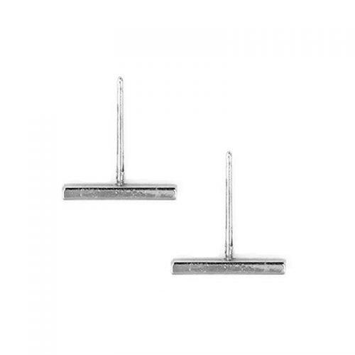 Bar minimalistische balk staafje oorknopjes zilverkleurig