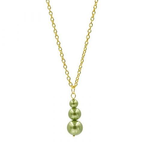 3 parels hanger ketting groen (2)