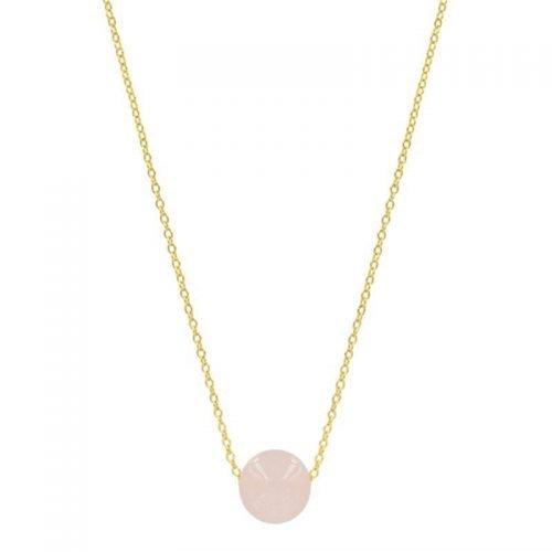 Goudkleurige ketting & hanger lichtroze steen