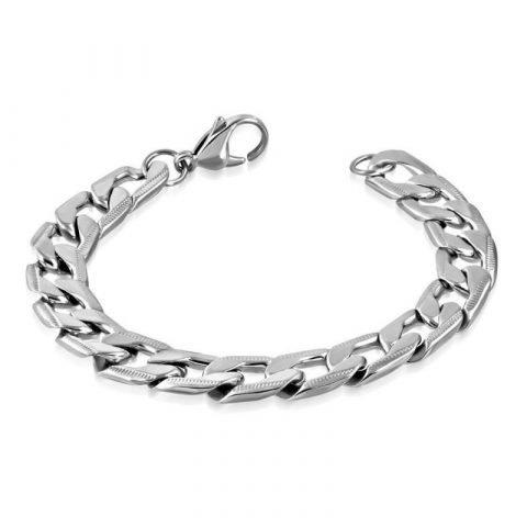 Zilverkleurige armband met gourmetschakels
