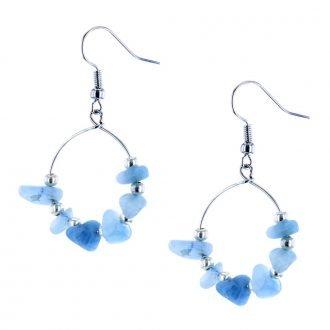 Ronde oorbellen blauw stenen