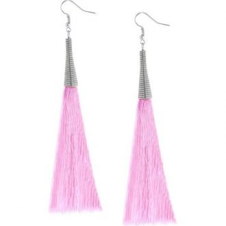 Roze lange oorbellen XL kwast