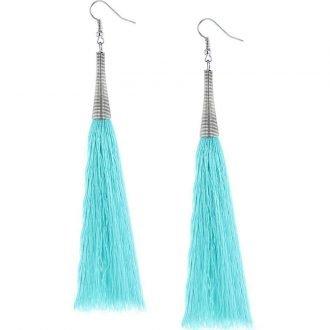 Turquoise lange oorbellen XL kwast