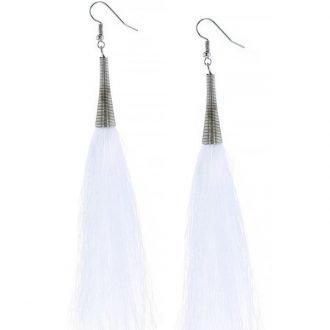 Witte lange oorbellen XL kwast