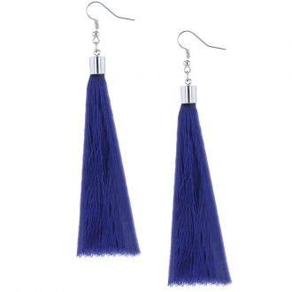 Kwast oorbellen lang blauw