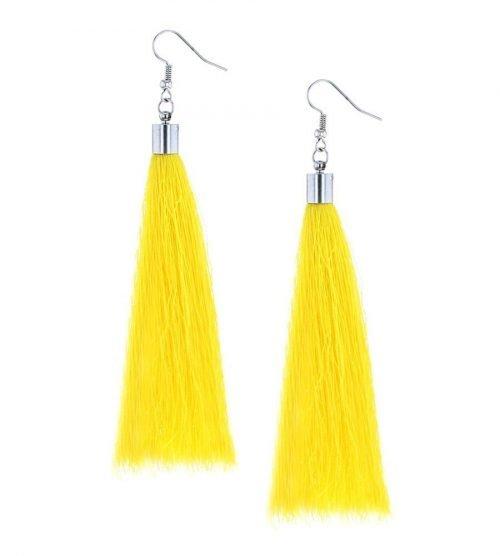 Kwast oorbellen lang geel