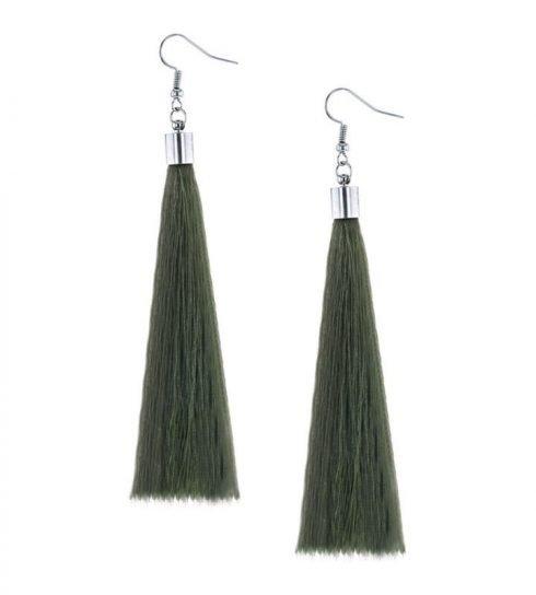 Oorbellen-Kwast-XL-groen
