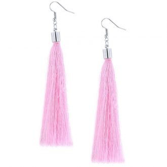 Kwast statement oorbellen roze