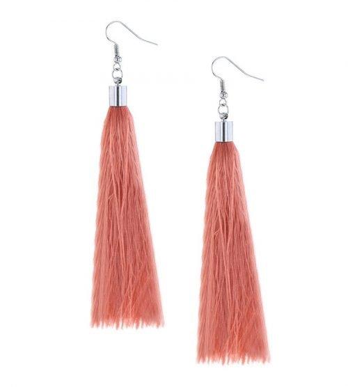 Zalmroze lange oorbellen