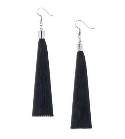 Oorbellen-Kwast-XL-zwart