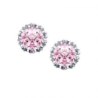 Ronde kroon oorbellen roze