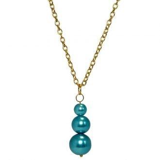 Goudkleurige ketting met blauwe hanger