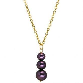 Goudkleurige ketting met paarse hanger