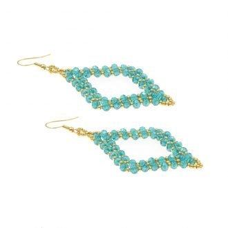 Ruit oorbellen turquoise