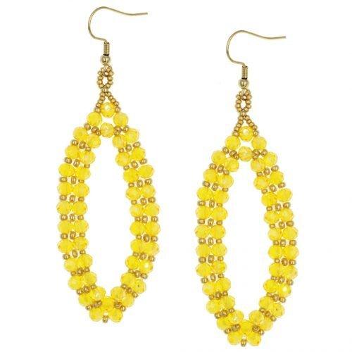 Ovale kralen oorbellen geel