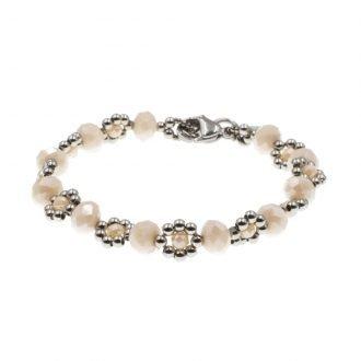 Zacht beige flower armband