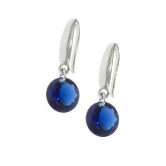 Oorbellen met ronde zirkonia blauw