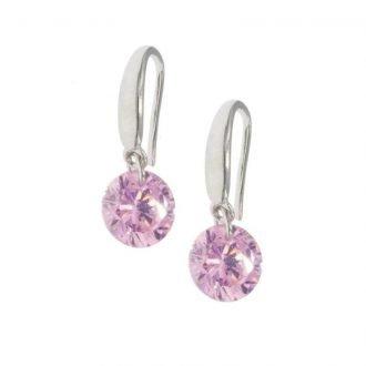 Oorbellen met ronde zirkonia roze