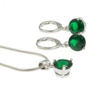 Set met ronde groene zirkonia