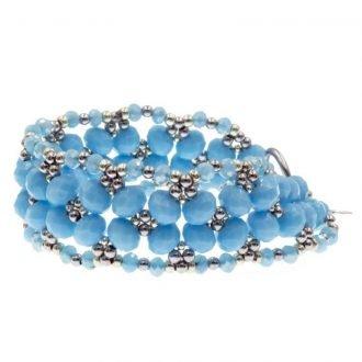 Kralen armband leaf blauw