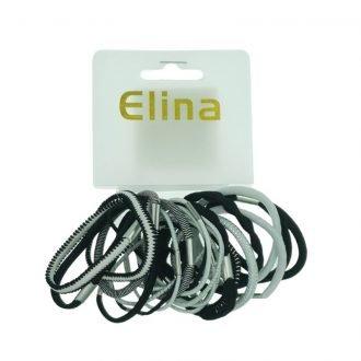 Zwart/wit Elina haarelastiekjes 24 stuks