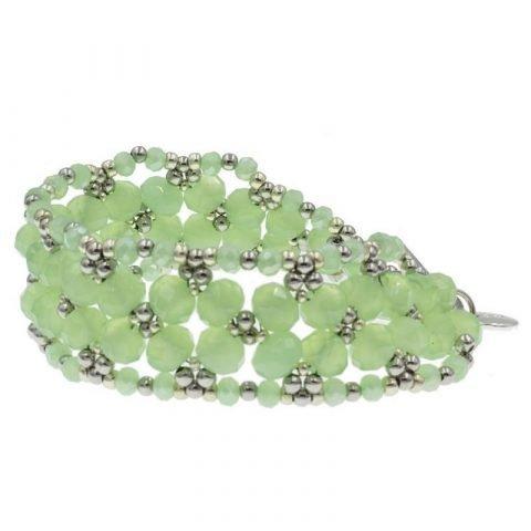 Kralen armband leaf groen zijkant