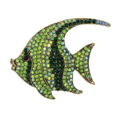 Groene vis broche