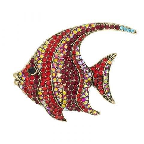 Vis broche rood